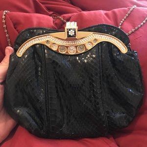 Handbags - VTG🖤Black 💯 Snakeskin Bag w/ Crystal Detail💎